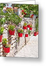 Colourful Flower Pots Greeting Card
