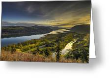 Columbia River Gorge At Sunrise Greeting Card