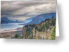 Columbia River Gorge Scenic View In Oregon Greeting Card