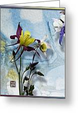 Columbine Blossom With Suminagashi Ink Greeting Card