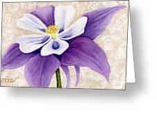 Columbine In Violet Greeting Card by Vikki Wicks