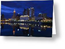 Columbus City At Twlight Greeting Card by Dick Wood