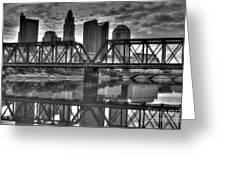 Columbus Ohio Downtown Bw Greeting Card