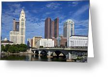 Columbus Ohio Skyline From Scioto River Greeting Card