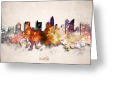 Columbus Painted City Skyline Greeting Card