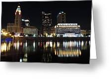 Columbus Skyline At Night Greeting Card