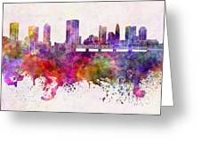 Columbus Skyline In Watercolor Background Greeting Card