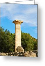 Column At The Temple Of Hera Olympia Greece Greeting Card
