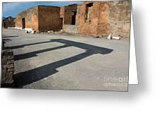 Column Shadows Forum At Pompeii Italy Greeting Card