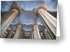 Columns And Domes Of Hypostyle Room In Park Guell Greeting Card