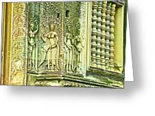 Columns And Hindu Devatas At Angkor Wat In Angkor Wat Archeological Park Near Siem Reap-cambodia Greeting Card