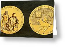 Comanche Nation Tribe Code Talkers Bronze Medal Art  Greeting Card
