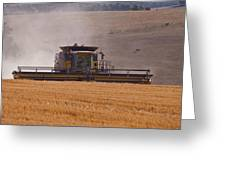 Combine Harvester And Cows Greeting Card