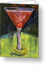 Comfortable Cherry Martini Greeting Card