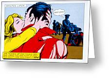 Comic Strip Kiss Greeting Card