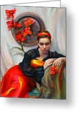 Common Threads - Divine Feminine In Silk Red Dress Greeting Card by Talya Johnson
