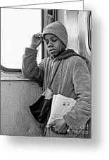 Commuter Boy Greeting Card