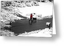 Companions Walking On Christmas Morning Greeting Card