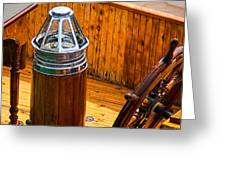 Compass And Bright Work Old Sailboat Greeting Card