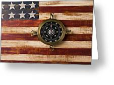 Compass On Wooden Folk Art Flag Greeting Card by Garry Gay