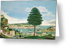 Composite Harbor Scene With Castle Greeting Card