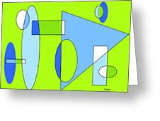 Composition In Chartreuse And Blue Greeting Card