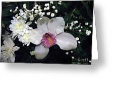 Composition With A Pink Orchid Greeting Card