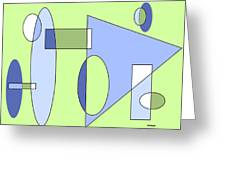 Composition With Muted Greens Greeting Card