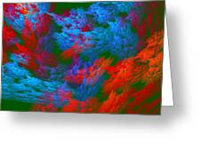 Computer Generated Abstract Red And Green Fractal Flame Greeting Card
