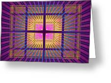 Computer Generated Fractal Squares Geometric Pattern Greeting Card