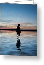 Concept Image Of Young Boy Walking On Water In Sunset Landscape Digital Painting Greeting Card by Matthew Gibson