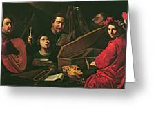 Concert With Musicians And Singers, C.1625 Oil On Canvas Greeting Card