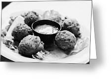 Conch Fritters With Sauce Served In A Restaurant Cafe In Key West Florida Usa Greeting Card by Joe Fox