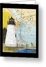 Concord Pt Lighthouse Md Nautical Chart Map Art Cathy Peek Greeting Card