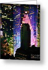 Concrete Canyons Of Manhattan At Night  Greeting Card