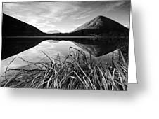 Cone Shaped Mountain Reflected In Lake At Sunset Greeting Card