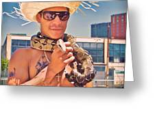 Coney Island Snake Man Greeting Card