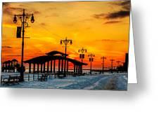 Coney Island Winter Sunset Greeting Card
