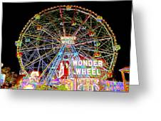 Coney Island's Famous Amusement Park And Wonder Wheel Greeting Card