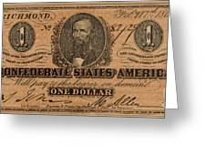 Confederate Dollar Bill Greeting Card