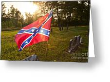Confederate Flag In An Old Cemetery Greeting Card