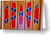 Confederate Flag Surfboards And Skulls Hand Painted By Mark Lemmon Greeting Card