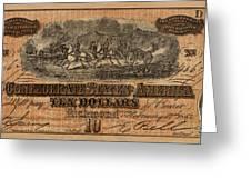 Confederate Ten Dollars Greeting Card