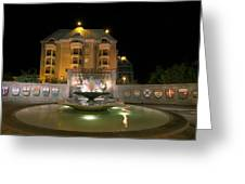 Confederation Fountain In Victoria Bc With Code Of Arms Greeting Card