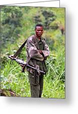 Congolese Soldier Standing Guard Greeting Card