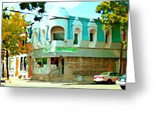 Connie's Pizza Psc Rue Charlevoix Near Grand Trunk Autumn Scene Pointe St Charles Art Carole Spandau Greeting Card
