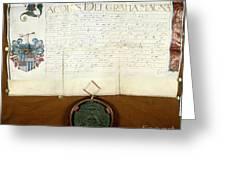 Constantijn Huygens Knighthood 1622 Greeting Card