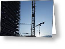 Construction Cranes In Backlit Greeting Card