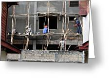 Construction Crew In Laos Greeting Card