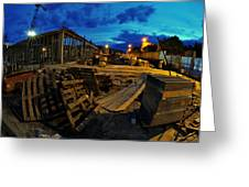 Construction Site At Night Greeting Card